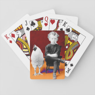 Smoking Boy With Chicken Playing Cards