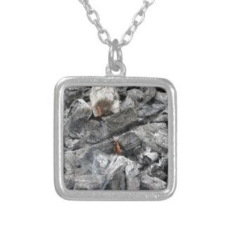 Smoking burning charcoal square pendant necklace