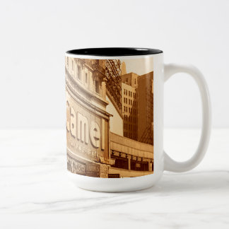 """""""Smoking"""" Camel Commercial in New York Two-Tone Mug"""
