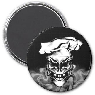 Smoking Chef Skull 1 3 Inch Round Magnet