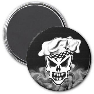 Smoking Chef Skull 2 3 Inch Round Magnet