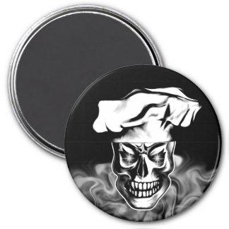 Smoking Chef Skull 3.1 3 Inch Round Magnet