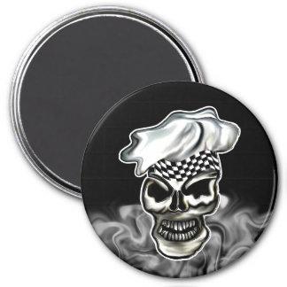 Smoking Chef Skull 8 3 Inch Round Magnet