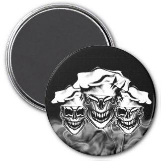 Smoking Chef Skulls 3 Inch Round Magnet
