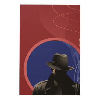 Smoking Detective Wood Print