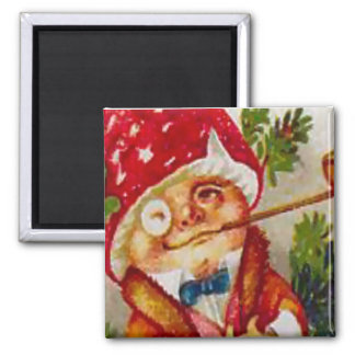 Smoking elf square magnet