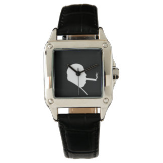 Smoking Gangster Perfect Square Black Leather Wristwatches