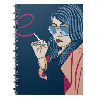 Smoking Girl Spiral Note Books