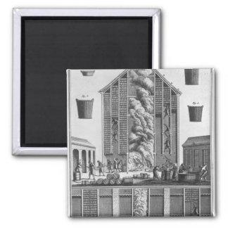 Smoking herrings square magnet