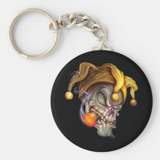 Smoking Jester Skull Basic Round Button Key Ring
