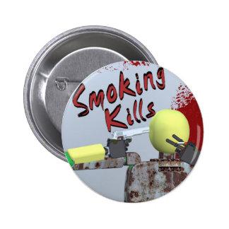 smoking kills 6 cm round badge