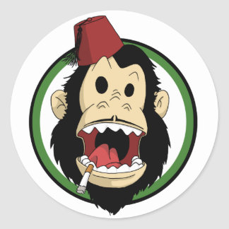 smoking monkey round sticker
