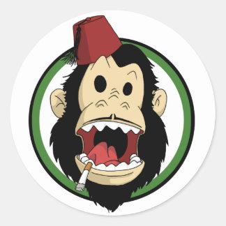 smoking monkey round sticker