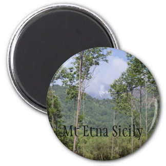 Smoking Mt Etna Through the Trees 6 Cm Round Magnet