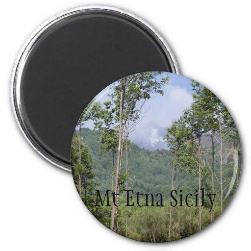 Smoking Mt Etna Through the Trees Fridge Magnets