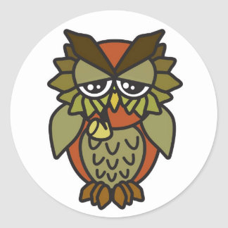 Smoking Owl 2.0 Brown Classic Round Sticker