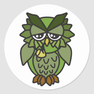 Smoking Owl 2.0 Classic Round Sticker