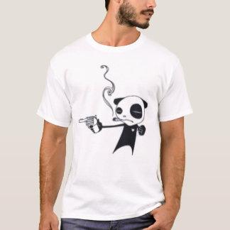 Smoking Panda Armed With Pistol thin striped tee
