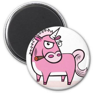 Smoking Pink Unicorn 6 Cm Round Magnet