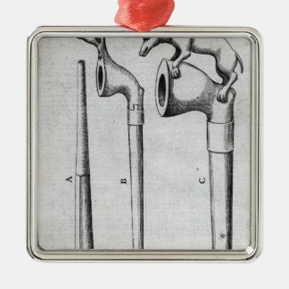 Smoking Pipes Silver-Colored Square Decoration