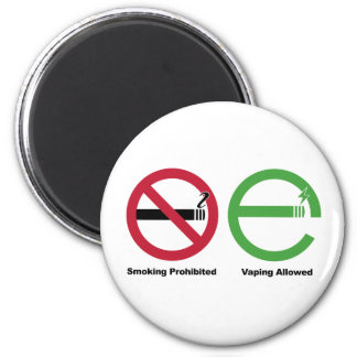 Smoking Prohibited. Vaping Allowed 6 Cm Round Magnet