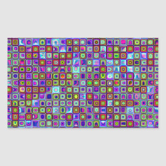 Smoking Purple Funky Retro Mosaic Tiles Pattern Rectangular Sticker
