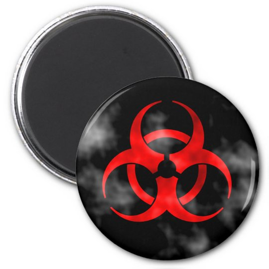 Smoking Red Biohazard Symbol Magnet