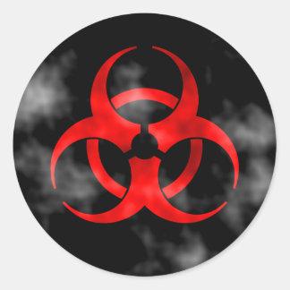Smoking Red Biohazard Symbol Round Stickers