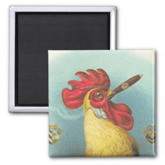 Smoking Rooster 2 Inch Square Magnet