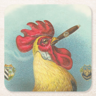 Smoking Rooster Square Paper Coaster
