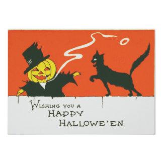 Smoking Scarecrow Jack O' Lantern Black Cat 13 Cm X 18 Cm Invitation Card