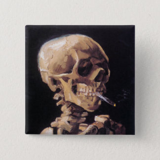 Smoking Skull Button