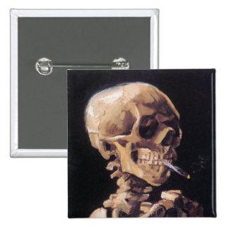 Smoking Skull Button