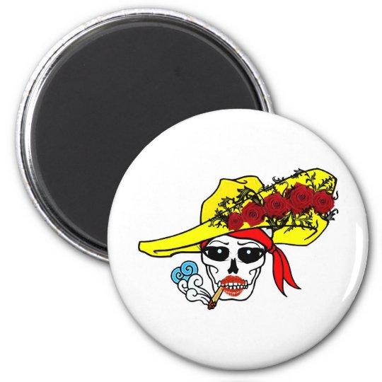 SMOKING SKULL PIRATE WITH ROSE HAT TATTOO ART PRIN 6 CM ROUND MAGNET
