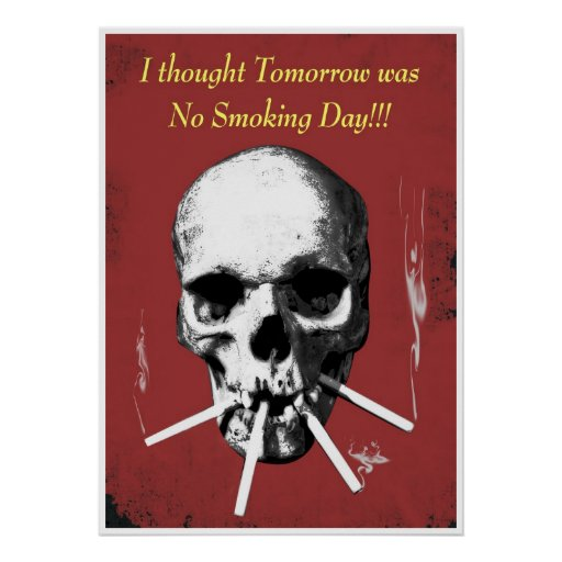 Smoking skull poster