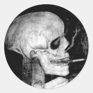 Smoking Skull Round Sticker