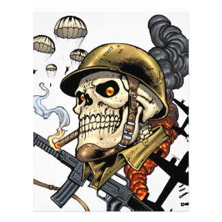 Smoking Skull with Helmet, Airplanes and Bombs 21.5 Cm X 28 Cm Flyer