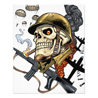 Smoking Skull with Helmet, Airplanes and Bombs 11.5 Cm X 14 Cm Flyer