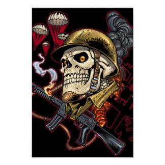 Smoking Skull with Helmet, Airplanes and Bombs Poster
