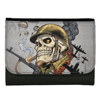 Smoking Skull with Helmet, Airplanes and Bombs Wallet