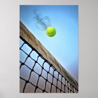Smoking Tennis Ball Flying Over Net Poster