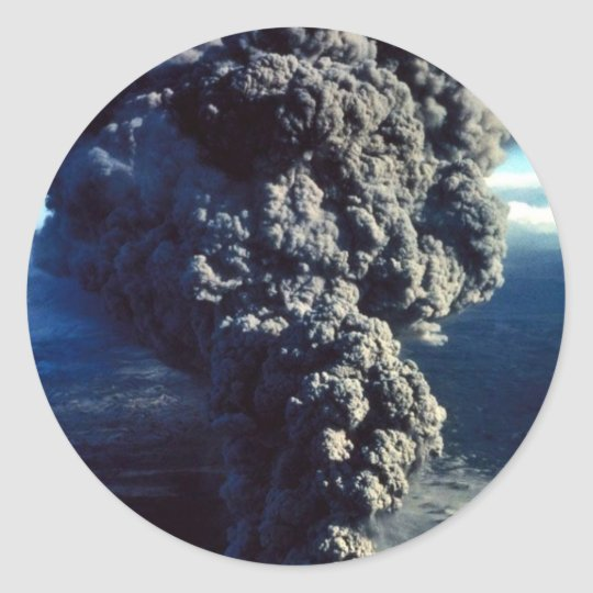 Smoking Volcano Classic Round Sticker