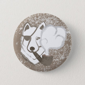 Smoking Wolf 6 Cm Round Badge