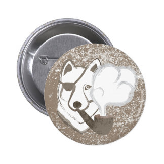 Smoking Wolf 6 Cm Round Badge