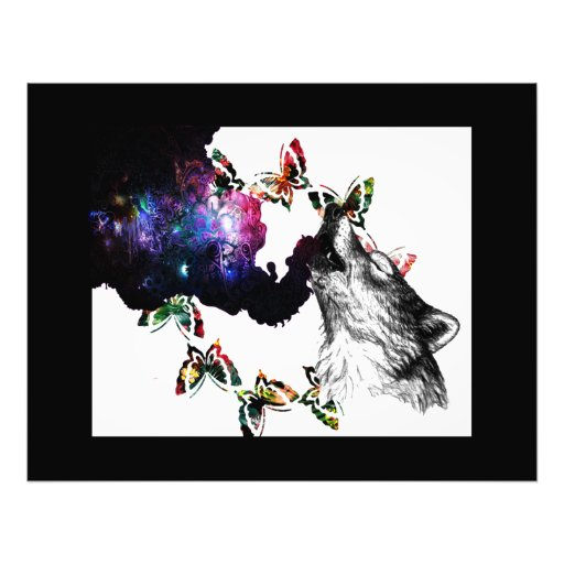Smoking Wolf butterfly floral Photo Print