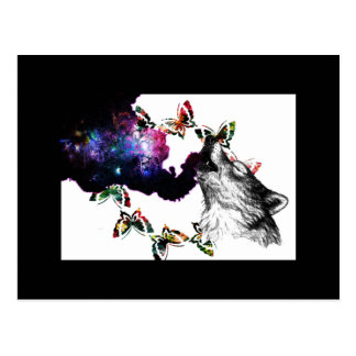 Smoking Wolf butterfly floral Postcard
