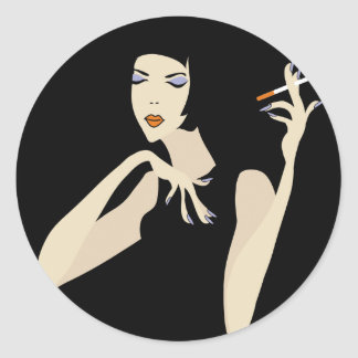 Smoking Woman Round Sticker