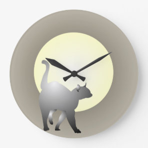 Smoky Cat and Moon Design Wall Clock. Large Clock