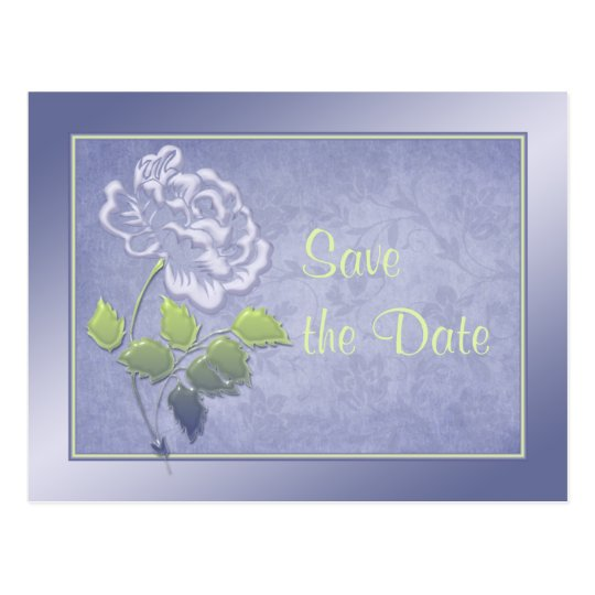 Smoky Heather Blue and Green Floral Save the Date Postcard