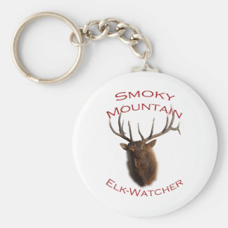 Smoky Mountain Elk Basic Round Button Key Ring